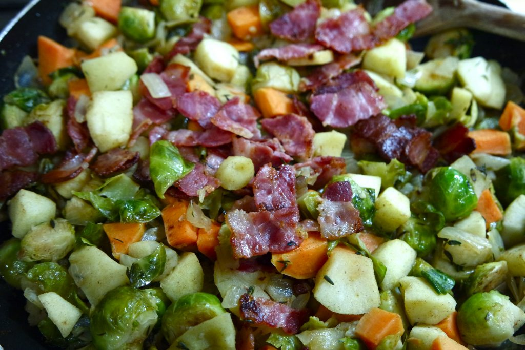 bacon apple sprouts