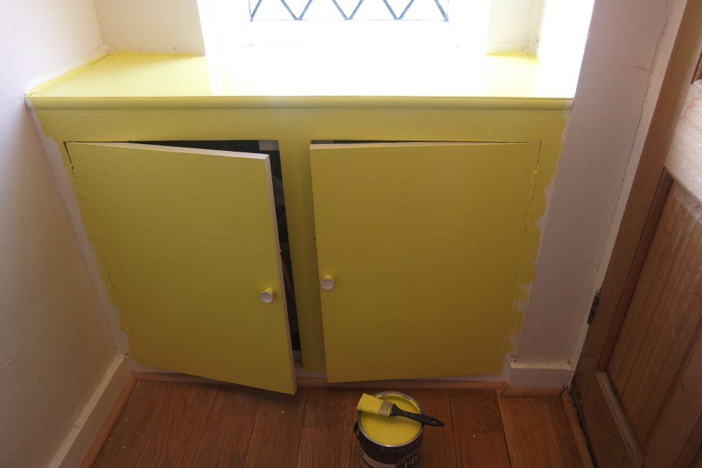 DIY yellow entryway cabinet makeover