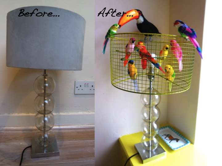 Fun and easy diy birdcage lampshade yes please birdcage lampshade lamp makeover keyboard keysfo Images