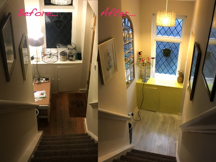 entryway makeover before and after