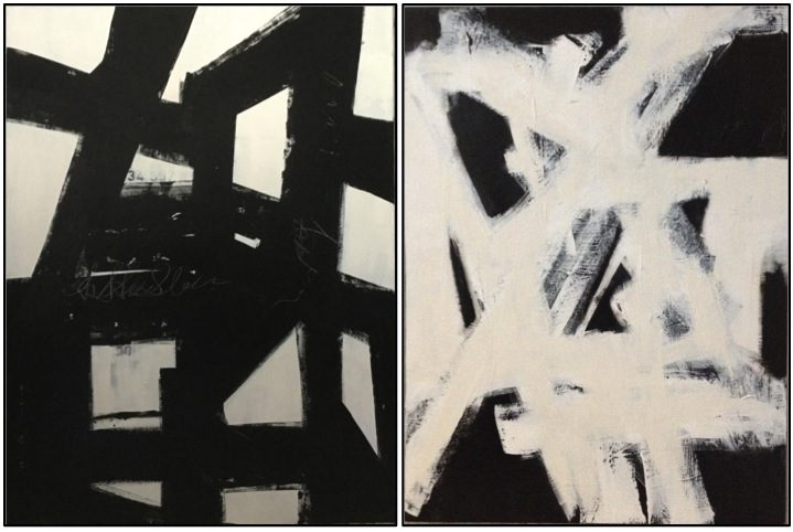 Left large black and white abstract painting by cindy robinson £412 78 right large white on black abstract painting by cindy robinson £412 78