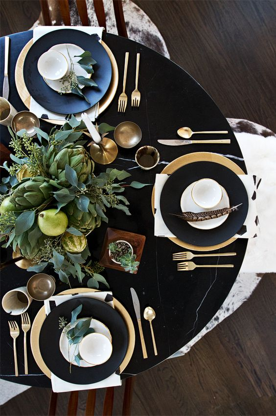 How to style a black & gold table setting | Yes Please