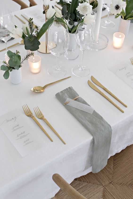 gold cutlery table setting | Yes Please