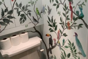 Hand-painted downstairs loo mural; before and after!